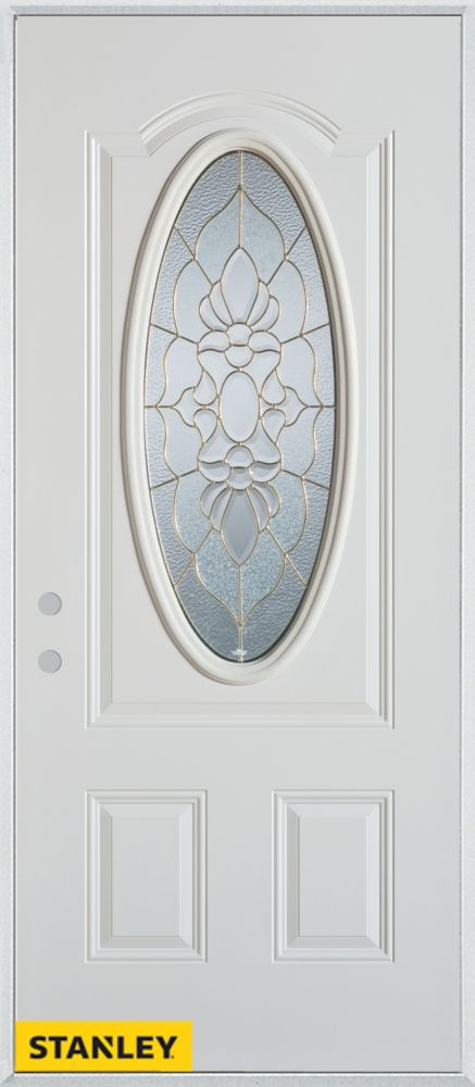 36-inch x 80-inch Traditional Patina 3/4 Oval Lite 2-Panel White Steel Entry Door with Right Insw...