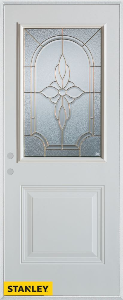 Stanley Doors 35.375 inch x 82.375 inch Trellis Patina 1/2 Lite 1-Panel Prefinished White Right-Hand Inswing Steel Prehung Front Door - ENERGY STAR®