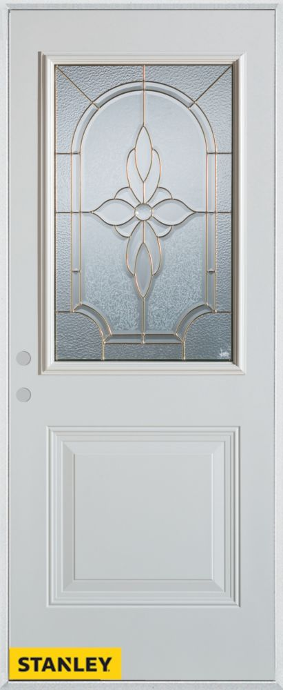 37.375 inch x 82.375 inch Trellis Brass 1/2 Lite 1-Panel Prefinished White Right-Hand Inswing Steel Prehung Front Door - ENERGY STAR®