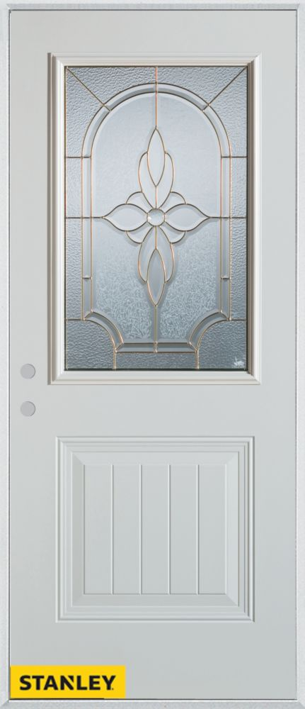 33.375 inch x 82.375 inch Trellis Brass 1/2 Lite 1-Panel Prefinished White Right-Hand Inswing Steel Prehung Front Door - ENERGY STAR®