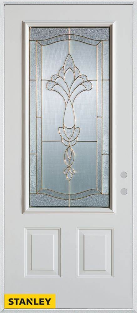 34-inch x 80-inch Traditional Patina 3/4-Lite 2-Panel White Steel Entry Door with Left Inswing