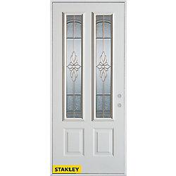 STANLEY Doors 33.375 inch x 82.375 inch Trellis Patina 2-Lite 2-Panel Prefinished White Left-Hand Inswing Steel Prehung Front Door - ENERGY STAR®