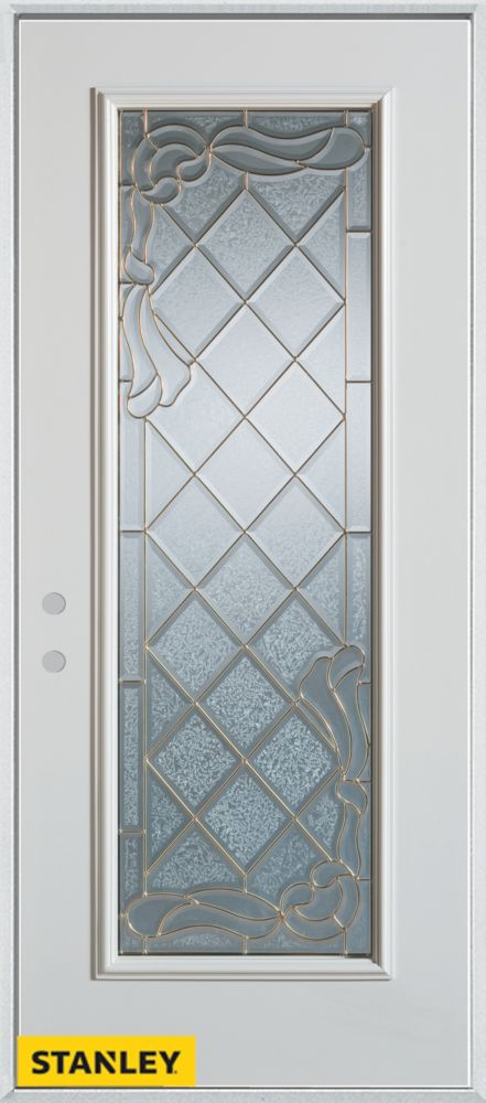 32-inch x 80-inch Art Deco Zinc Full Lite White Steel Entry Door with Right Inswing