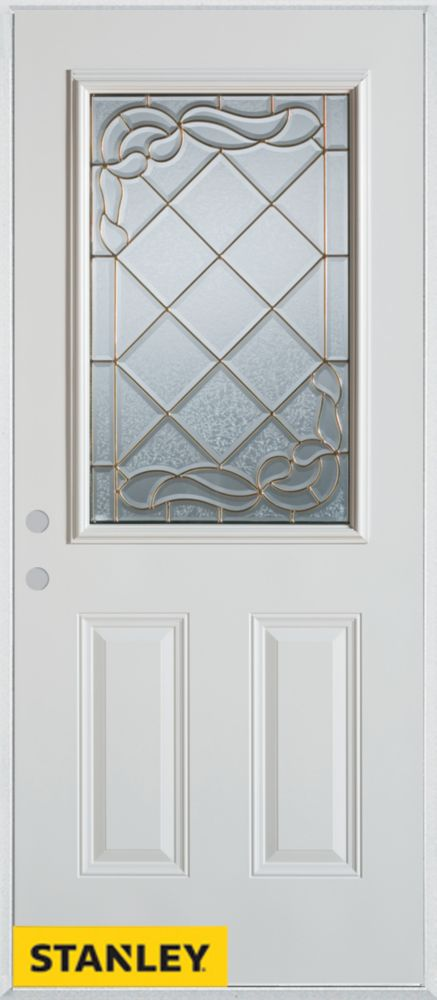 32-inch x 80-inch Art Deco Zinc 1/2-Lite 2-Panel White Steel Entry Door with Right Inswing