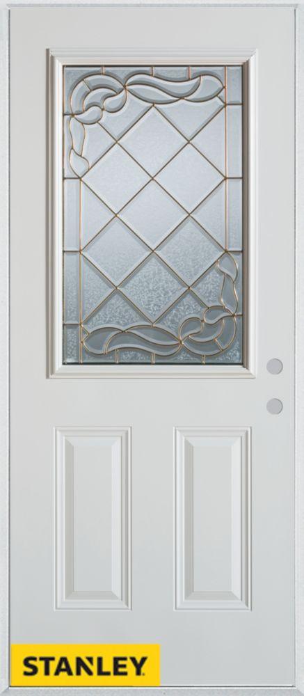 Stanley Doors 35.375 inch x 82.375 inch Queen Anne Patina 1/2 Lite 2-Panel Prefinished White Left-Hand Inswing Steel Prehung Front Door - ENERGY STAR®