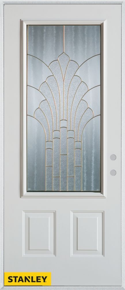 34-inch x 80-inch Art Deco Patina 3/4-Lite 2-Panel White Steel Entry Door with Left Inswing