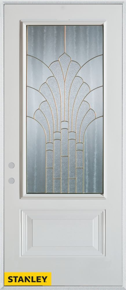 34-inch x 80-inch Art Deco Patina 3/4-Lite 1-Panel White Steel Entry Door with Right Inswing