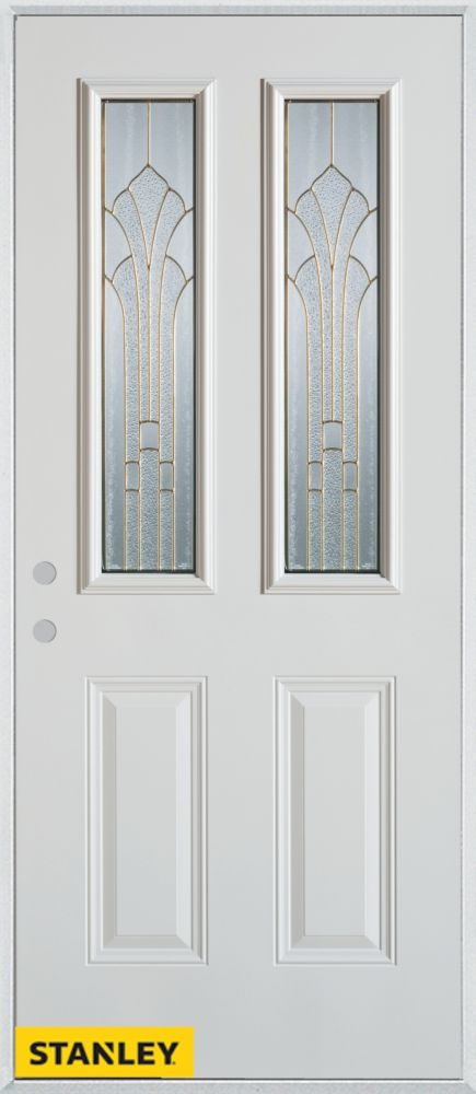 Stanley Doors 36 Inch X 80 Inch Art Deco 2 Lite 2 Panel White Steel Entry Door With Right