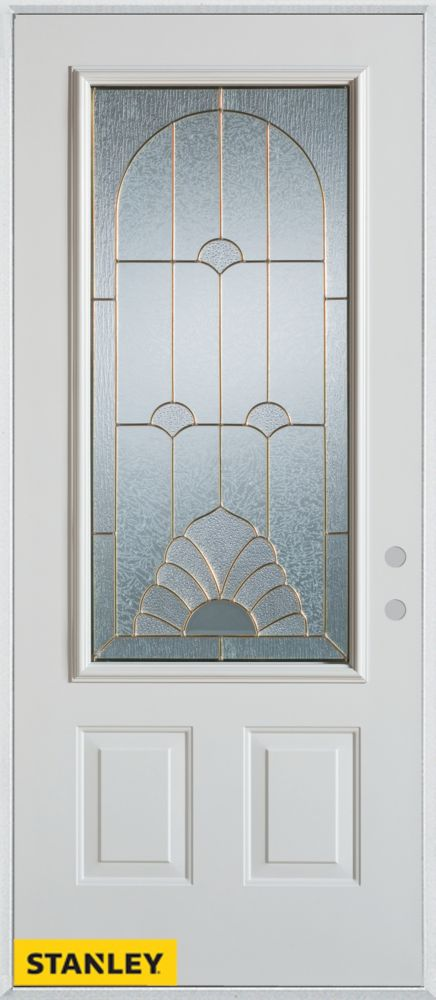 Stanley Doors 33.375 inch x 82.375 inch Florentine Brass 3/4 Lite 2-Panel Prefinished White Left-Hand Inswing Steel Prehung Front Door - ENERGY STAR®
