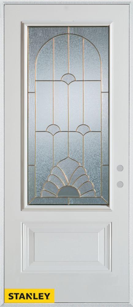 32-inch x 80-inch Art Deco 3/4-Lite 1-Panel White Steel Entry Door with Left Inswing