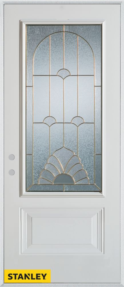 35.375 inch x 82.375 inch Florentine Brass 3/4 Lite 1-Panel Prefinished White Right-Hand Inswing Steel Prehung Front Door - ENERGY STAR®