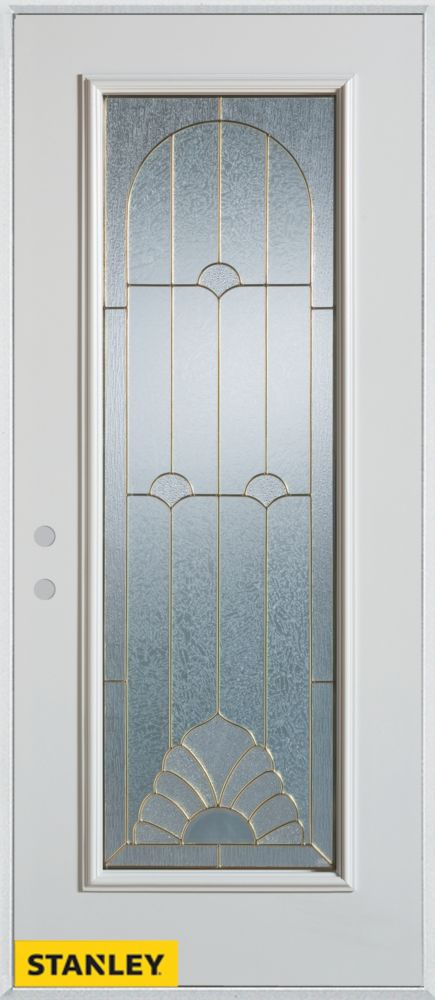 32-inch x 80-inch Art Deco Full Lite White Steel Entry Door with Right Inswing