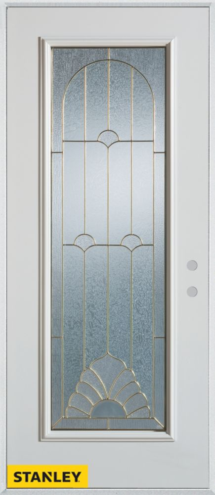 34-inch x 80-inch Art Deco Full Lite White Steel Entry Door with Left Inswing