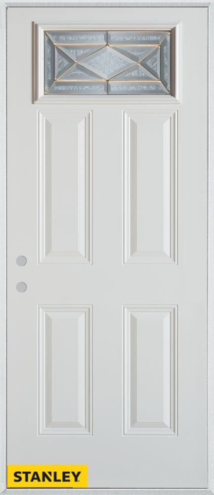 Porte dentrée en acier préfini blanc, munie de quatre panneaux et dun verre zinc rectangulaire, 3...
