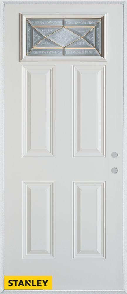 36-inch x 80-inch Art Deco Rectangular Lite 4-Panel White Steel Entry Door with Left Inswing
