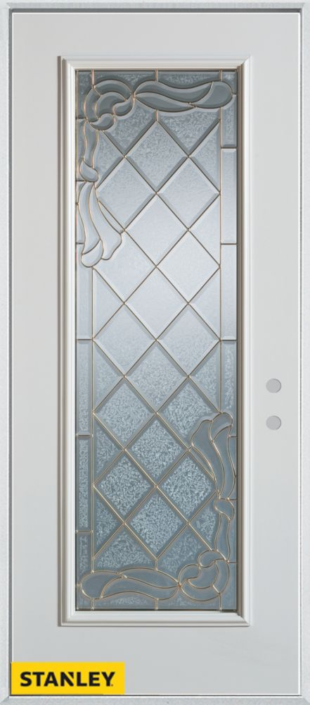 33.375 inch x 82.375 inch Queen Anne Brass Full Lite Prefinished White Left-Hand Inswing Steel Prehung Front Door - ENERGY STAR®
