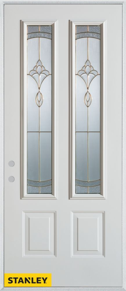36-inch x 80-inch Traditional Patina 2-Lite 2-Panel White Steel Entry Door with Right Inswing