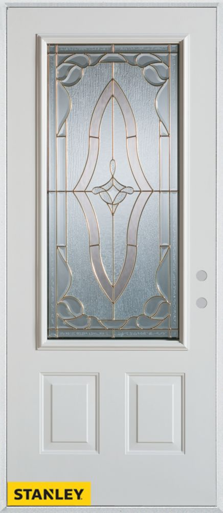 32-inch x 80-inch Art Deco Patina 3/4-Lite 2-Panel White Steel Entry Door with Left Inswing