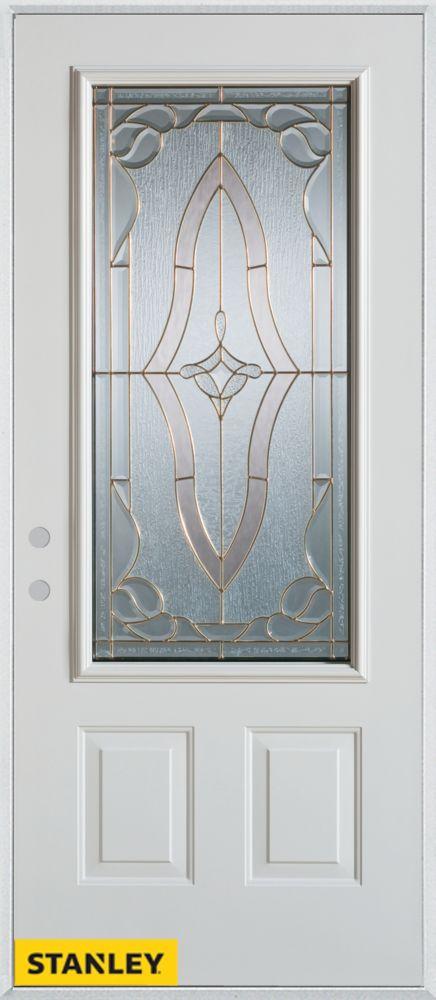 Porte dentrée en acier préfini blanc, munie de deux panneaux et dun 3/4 verre, 32 po x 80 po - Dr...