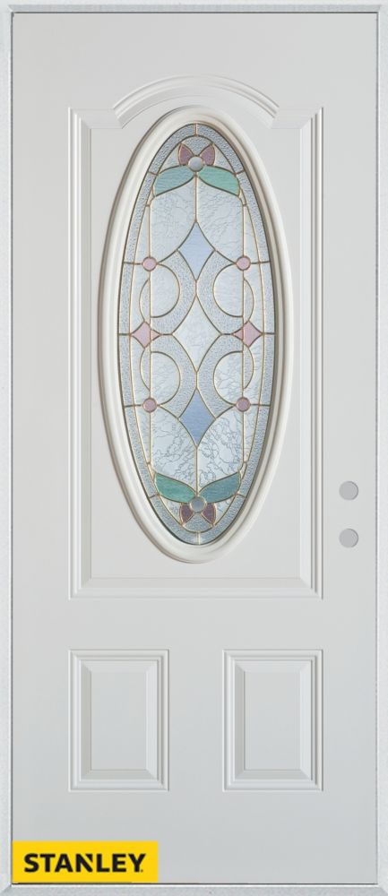 34-inch x 80-inch Art Deco Patina Oval Lite 2-Panel White Steel Entry Door with Left Inswing