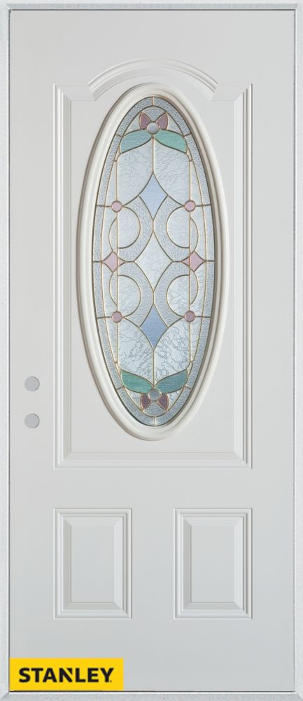 34-inch x 80-inch Art Deco Patina Oval Lite 2-Panel White Steel Entry Door with Right Inswing