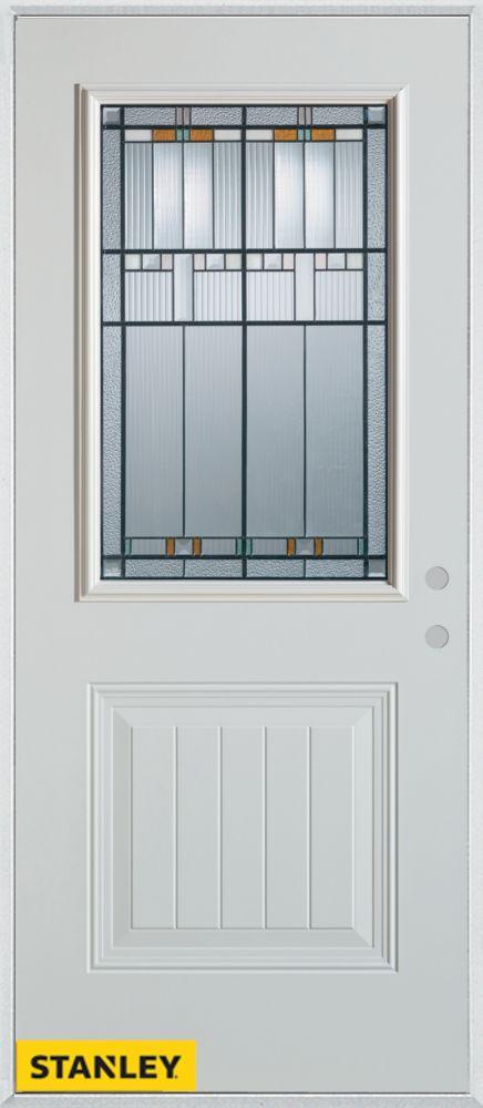 Stanley Doors 37.375 inch x 82.375 inch Chicago Patina 1/2 Lite 1-Panel Prefinished White Left-Hand Inswing Steel Prehung Front Door - ENERGY STAR®