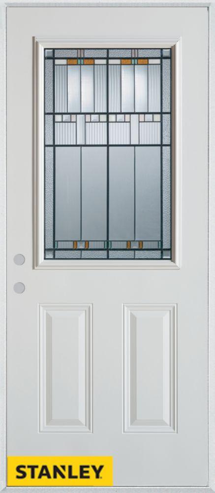 Porte dentrée en acier préfini blanc, munie de deux panneaux et dun 1/2 verre, 32 po x 80 po - Dr...