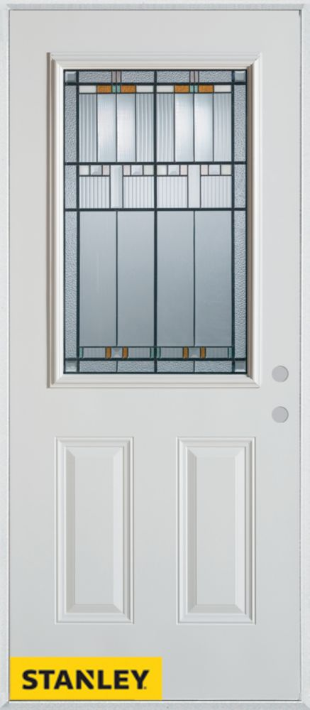34-inch x 80-inch Architectural Patina 1/2-Lite 2-Panel White Steel Entry Door with Left Inswing