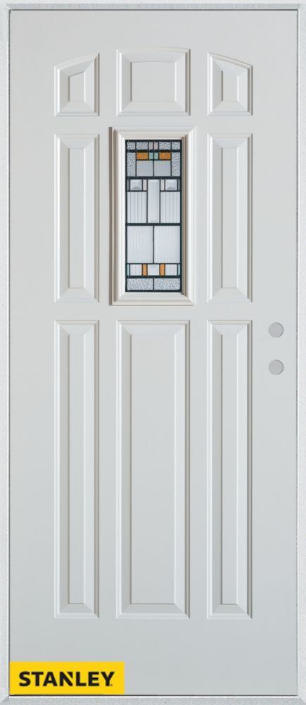 34-inch x 80-inch Architectural Rectangular Lite 8-Panel White Steel Entry Door with Left Inswing