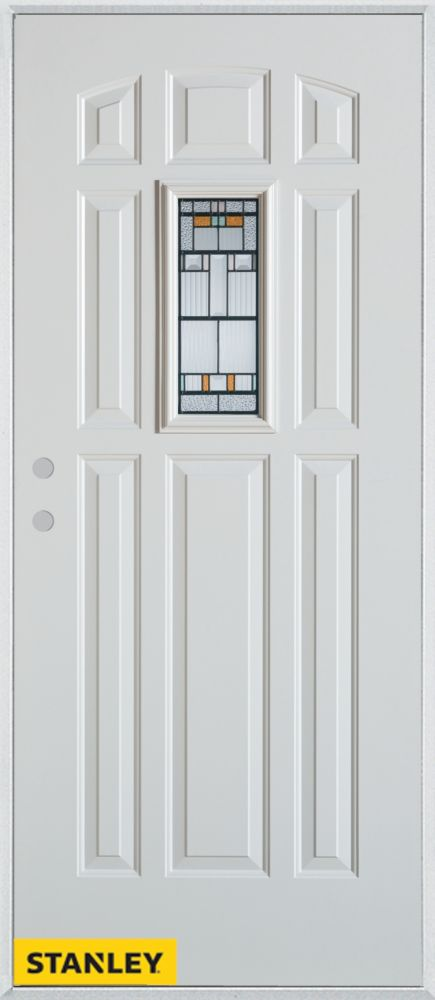 34-inch x 80-inch Architectural Rectangular Lite 8-Panel White Steel Entry Door with Right Inswin...