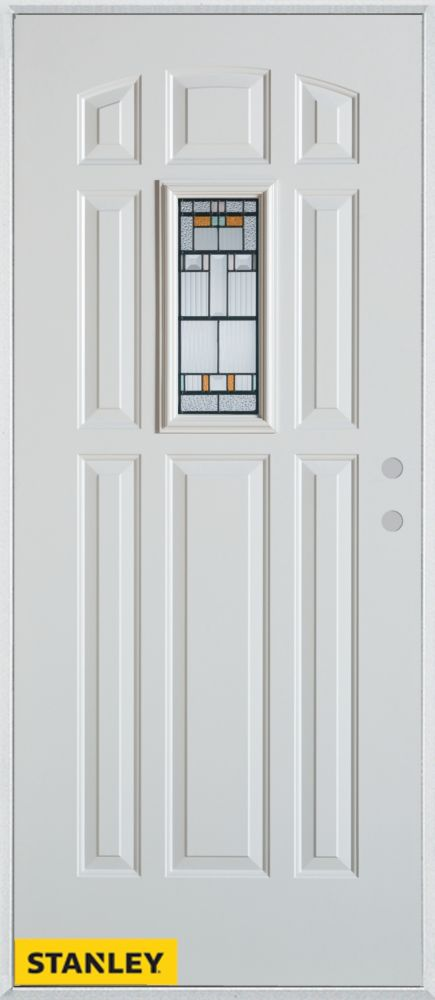 36-inch x 80-inch Architectural Rectangular Lite 8-Panel White Steel Entry Door with Left Inswing