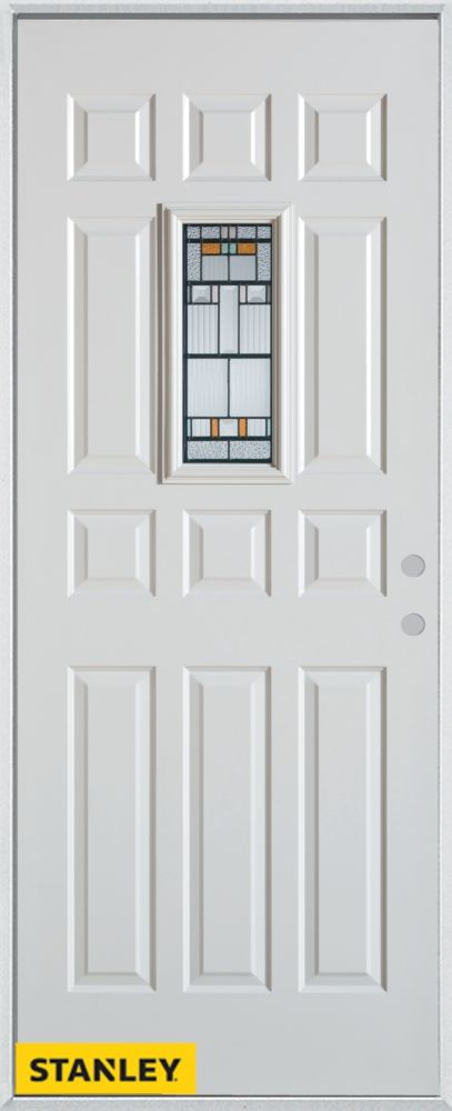 32-inch x 80-inch Architectural Rectangular Lite 12-Panel White Steel Entry Door with Left Inswin...