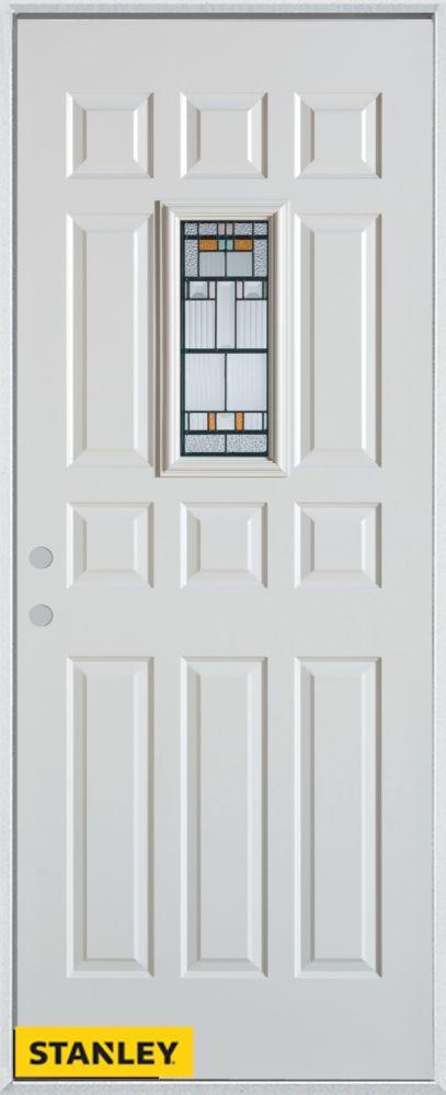 Porte dentrée en acier préfini blanc, munie de douze panneaux et dun verre rectangulaire, 34 po x...