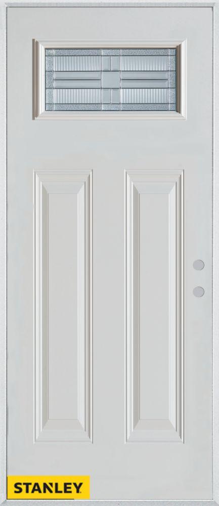 Porte dentrée en acier préfini blanc, munie de quatre panneaux et dun verre patina rectangulaire,...