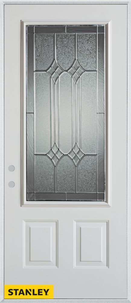 36-inch x 80-inch Orleans Patina 3/4-Lite 2-Panel White Steel Entry Door with Right Inswing