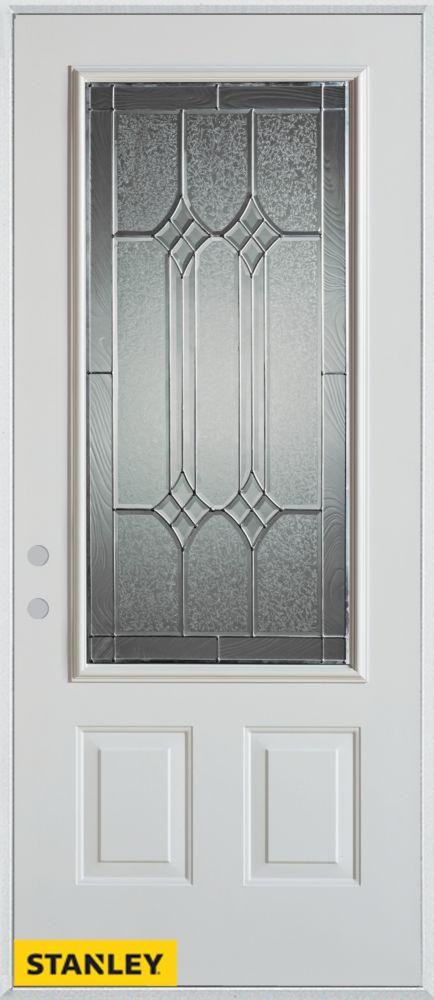 Porte dentrée en acier préfini blanc, munie de deux panneaux et dun 3/4 verre zinc, 36 po x 80 po...
