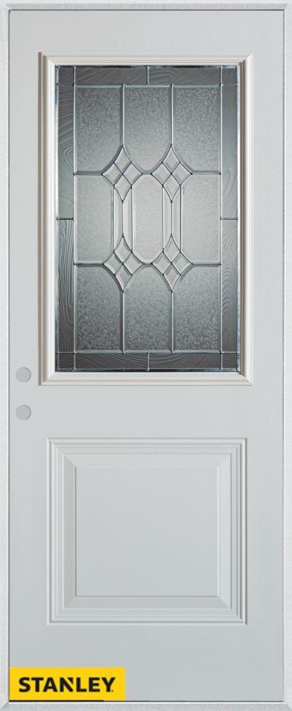 Porte dentrée en acier préfini blanc, munie d'un panneau et dun 1/2 verre patina, 32 po x 80 po -...