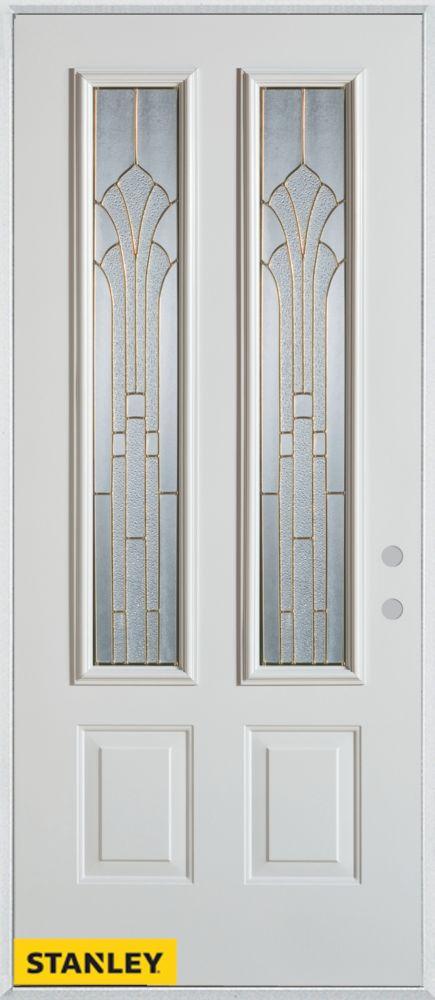 Porte dentrée en acier préfini blanc, munie de deux panneaux et de deux verres zinc, 36 po x 80 p...
