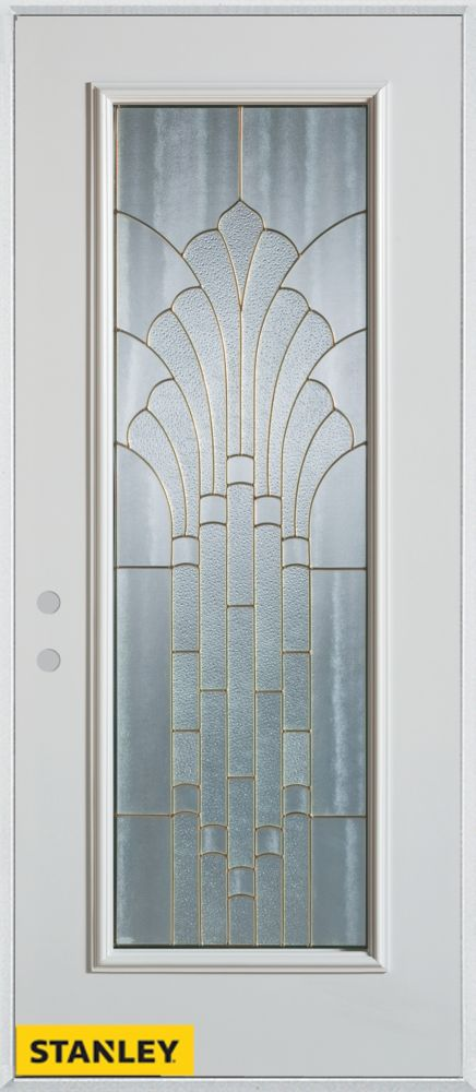 34-inch x 80-inch Art Deco Full Lite White Steel Entry Door with Right Inswing