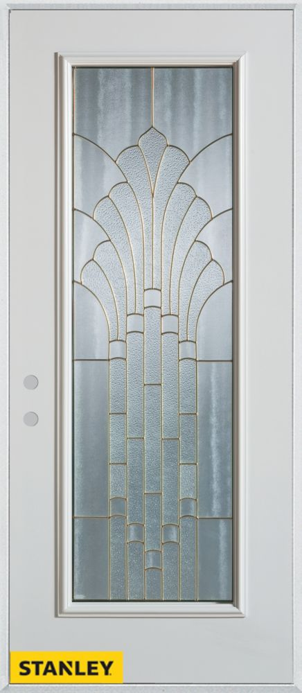 36-inch x 80-inch Art Deco Patina Full Lite White Steel Entry Door with Right Inswing