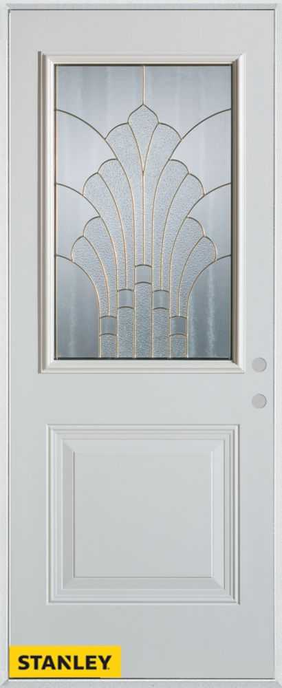 34-inch x 80-inch Art Deco Patina 1/2-Lite 1-Panel White Steel Entry Door with Left Inswing