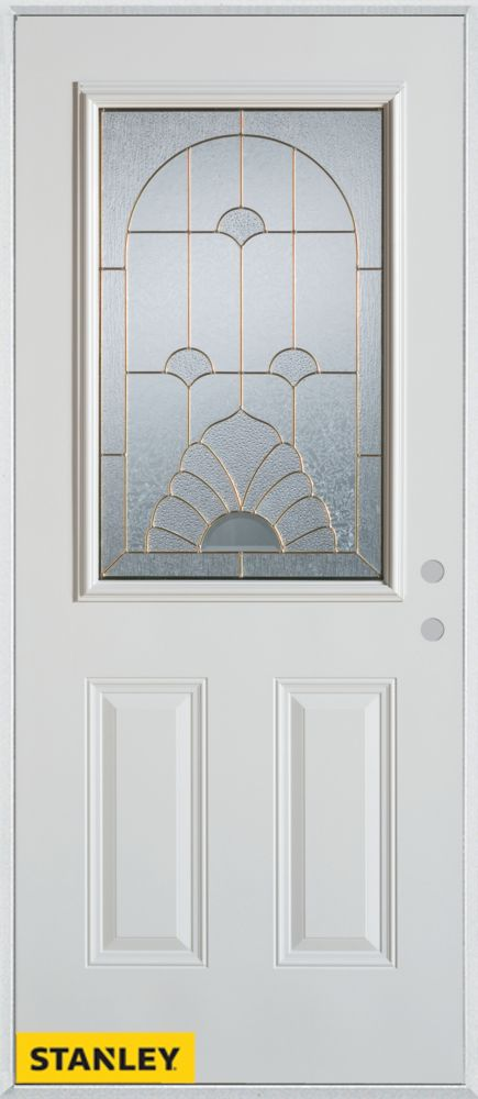 36-inch x 80-inch Art Deco Patina 1/2-Lite 2-Panel White Steel Entry Door with Left Inswing