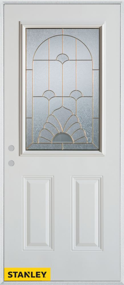 36-inch x 80-inch Art Deco 1/2-Lite 2-Panel White Steel Entry Door with Right Inswing