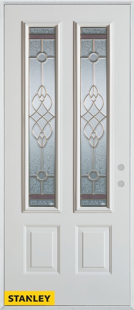 35.375 inch x 82.375 inch Milano Brass 2-Lite 2-Panel Prefinished White Left-Hand Inswing Steel Prehung Front Door - ENERGY STAR®
