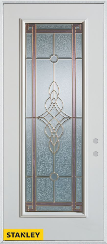 Stanley Doors 32 Inch X 80 Inch Art Deco Patina Full Lite White Steel Entry D