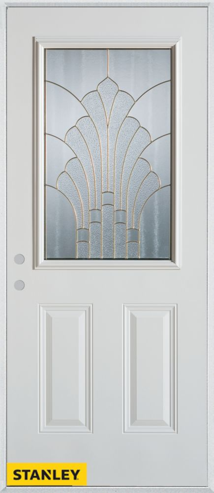 34-inch x 80-inch Art Deco 1/2-Lite 2-Panel White Steel Entry Door with Right Inswing