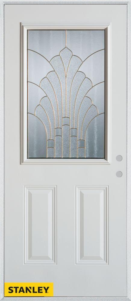 36-inch x 80-inch Art Deco Zinc 1/2-Lite 2-Panel White Steel Entry Door with Left Inswing