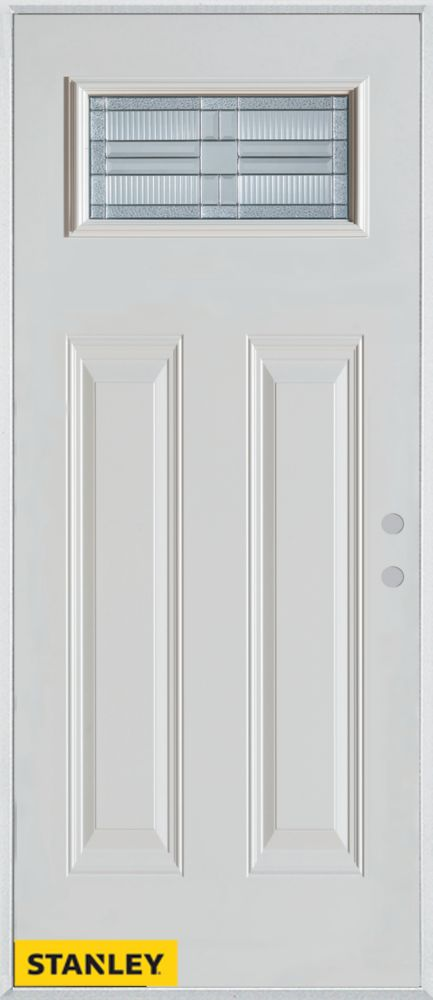 34-inch x 80-inch Architectural Rectangular Lite 2-Panel White Steel Entry Door with Left Inswing