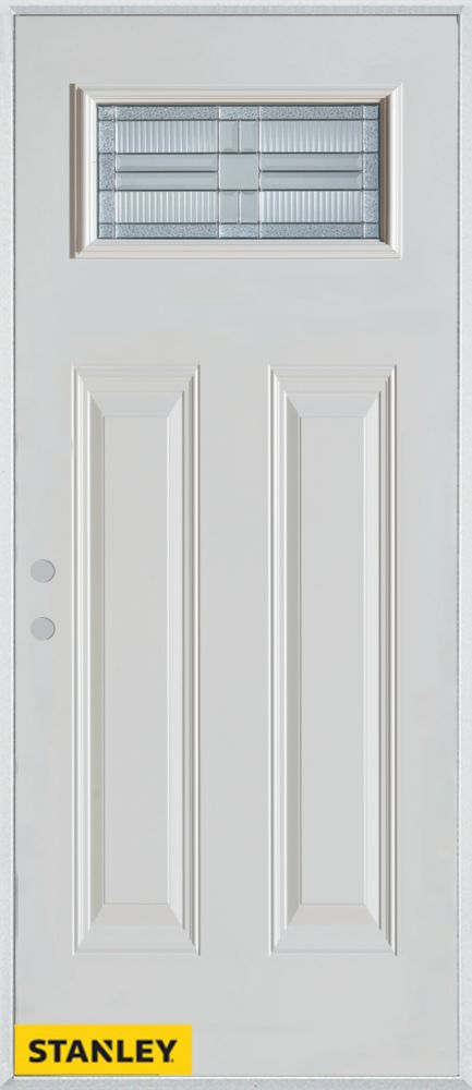34-inch x 80-inch Architectural Rectangular Lite 2-Panel White Steel Entry Door with Right Inswin...