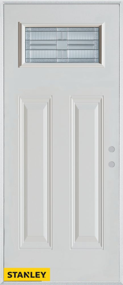 36-inch x 80-inch Architectural Rectangular Lite 2-Panel White Steel Entry Door with Left Inswing